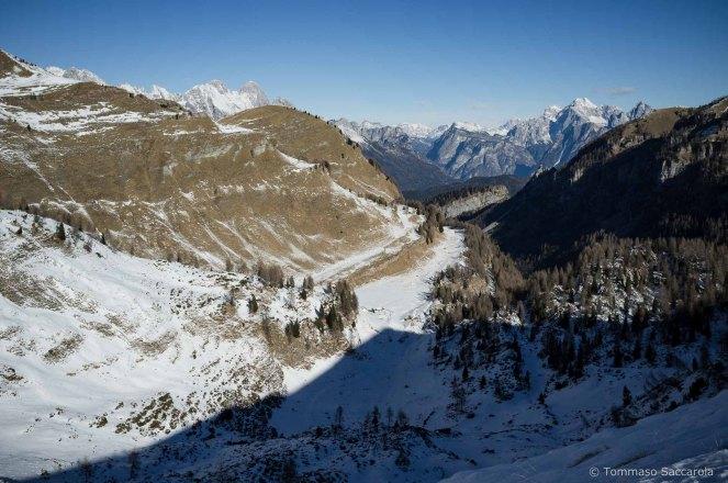 In basso si intravede la Casera Campotorondo - Parco Nazionale Dolomiti Bellunesi