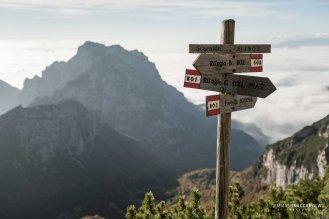 Al bivio tra sentiero 803 e 801, sullo sfondo il Monte San Mauro - Parco nazionale Dolomiti Bellunesi